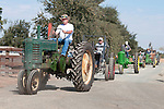Annual fall Gas-Up at McFarland Ranch near Galt, Calif. of Branch 13, Early-Day Gas Engine and Tractor Association. (EDGE & TA)..John Deere tractor parade (with one vintage Case industrial tractor)