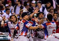 Con anotaciones de Abiatal Avelino (1) y Gustavo Nunez (6) de Águilas Cibaeñas de Republica Dominicana, el partido se coloca 5 carreras por 3 en la parte alta del séptimo inning, sobre  Alazanes de Gamma de Cuba, durante la Serie del Caribe en estadio Panamericano en Guadalajara, México, Miércoles 7 feb 2018.  (Foto: AP/Luis Gutierrez)