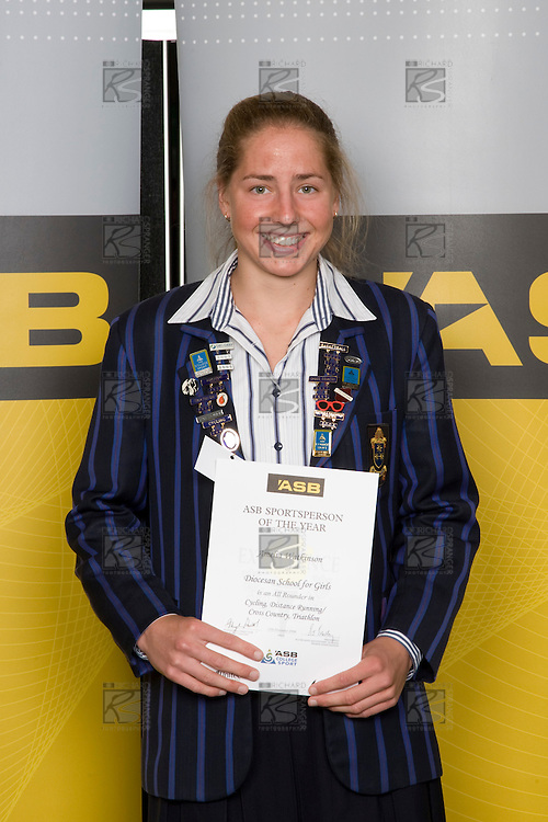 All Rounder category winner, Amelia Watkinson from Diocesan School for Girls. ASB College Sport Young Sportperson of the Year Awards 2008 held at Eden Park, Auckland, on Thursday November 13th, 2008.