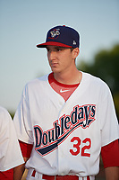 Auburn Doubledays pitcher Colin Morse (32) during introductions before a game against the Hudson Valley Renegades on September 5, 2018 at Falcon Park in Auburn, New York.  Hudson Valley defeated Auburn 11-5.  (Mike Janes/Four Seam Images)