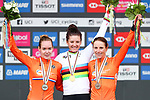 Anna van der Breggen of The Netherlands silver, Chloe Dygert of the United States of America gold and Annemiek van Vleuten bronze on the podium at the end of the Women's Elite Individual Time Trial of the UCI World Championships 2019 running 30.3km from Ripon to Harrogate, England. 24th September 2019.<br /> Picture: Alex Whitehead/SWPix.com | Cyclefile<br /> <br /> All photos usage must carry mandatory copyright credit (© Cyclefile | Alex Whitehead/SWPix.com)
