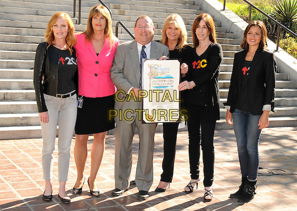 27 August 2014 - Los Angeles, California - Marg Helgenberger, Paul Koretz, Lisa Paulsen, Ellen Ziffren, Italia Ricci. The City Of Los Angeles Press Conference Announcement of &quot;Stand Up To Cancer Day&quot; held at LA City Hall.  <br /> CAP/ADM/BP<br /> &copy;Byron Purvis/AdMedia/Capital Pictures