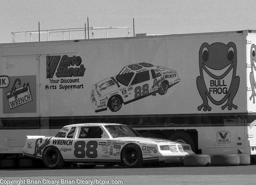Buddy Baker Oldsmobile race car transporter hauler Daytona 500 at Daytona International Speedway in Daytona Beach, FL in February 1985. (Photo by Brian Cleary/www.bcpix.com) Daytona 500, Daytona International Speedway, Daytona Beach, FL, February 1985. (Photo by Brian Cleary/www.bcpix.com)