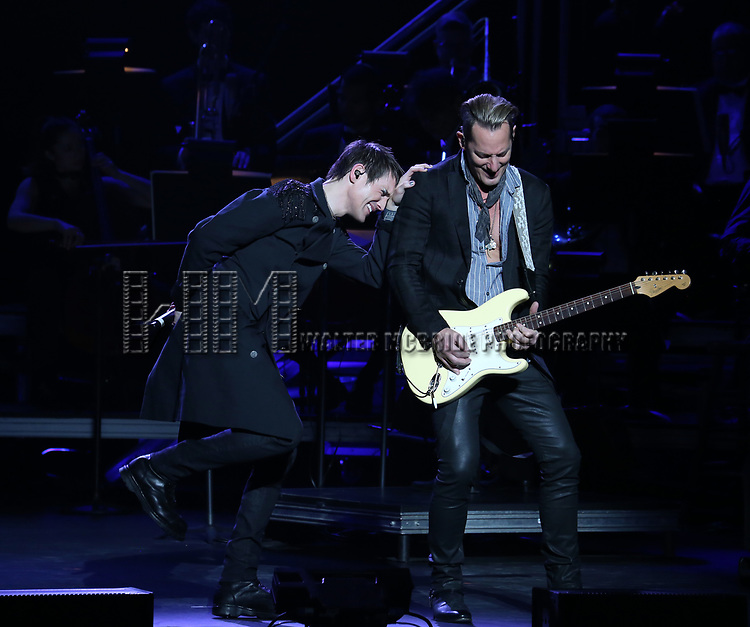 "Tony Vincent and Tony Bruno during the Broadway Opening Night Performance Curtain Call of  ""Rocktopia"" at The Broadway Theatre on March 27, 2018 in New York City."