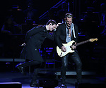 """Tony Vincent and Tony Bruno during the Broadway Opening Night Performance Curtain Call of  """"Rocktopia"""" at The Broadway Theatre on March 27, 2018 in New York City."""