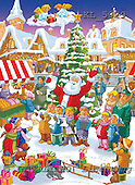 Interlitho, Eberle, Comics, CHRISTMAS SANTA, SNOWMAN, paintings, santa, market, cloud, KL5929,#X# Weihnachten, Navidad, illustrations, pinturas