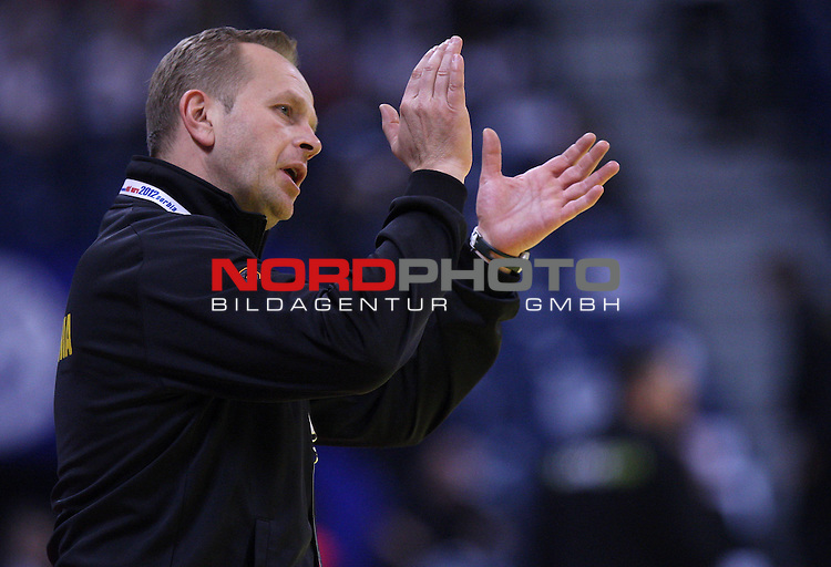 Coach Zvonko Shundovski of Slovenia reacts during the Men's European Handball Championship match for the fifth place between Macedonia and Slovenia in Belgrade January 27, 2012.<br /> <br /> Foto &copy;  nph / PIXSELL / Antonio Bronic