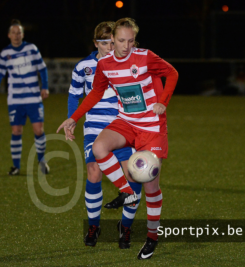 20140221 - OOSTAKKER , BELGIUM : Antwerp Inne De Smet  pictured during the soccer match between the women teams of AA Gent Ladies  and RAFC Antwerp Ladies , on the 19th matchday of the BeNeleague competition Friday 21 February 2014 in Oostakker. PHOTO DAVID CATRY