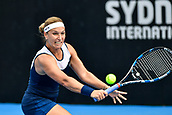 9th January 2018, Sydney Olympic Park Tennis Centre, Sydney, Australia; Sydney International Tennis, round 1; Dominika Cibulkova (SVK) hits a return in her match against Elena Vesnina (RUS)