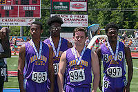 Brentwood's 4x200 relay of (left to right) Justice Harris, Deshaun Johnson, Jacob Clay, and Kaylong Jenkins stand on the awards podium after their sixth-place finish in the Class 2 race at the Missouri Class 1 and 2 State Track and Field Championships in Jefferson City, Saturday, May 21.