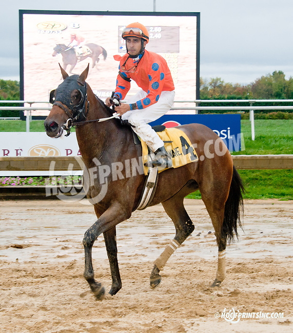 Moon Philly winning The Justakiss Stakes at Delaware Park on 10/7/13
