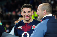 Charlie Ewels of England is all smiles after the match. Old Mutual Wealth Series International match between England and Argentina on November 26, 2016 at Twickenham Stadium in London, England. Photo by: Patrick Khachfe / Onside Images