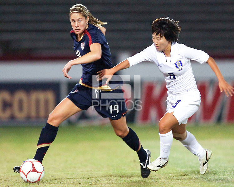 Marian Dalmy (19) of USA moves away from Kwon Han Nul (8) of South Korea during an international friendly match at City Stadium on November 1, 2008 in Richmond, Virginia. USA won 3-1.