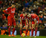 James Milner of Liverpool and Jordan Henderson of Liverpool line up a free kick - English Premier League - Liverpool vs Manchester City - Anfield Stadium - Liverpool - England - 3rd March 2016 - Picture Simon Bellis/Sportimage