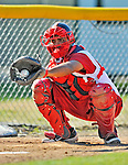 29 June 2012: Lowell Spinners' catcher Oscar Perez warms up in the bullpen prior to a game against the Vermont Lake Monsters at Centennial Field in Burlington, Vermont. Mandatory Credit: Ed Wolfstein Photo