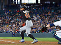 Ichiro Suzuki (Marlins),<br /> APRIL 19, 2017 - MLB :<br /> Ichiro Suzuki of the Miami Marlins bats during the Major League Baseball game against the Seattle Mariners at Safeco Field in Seattle, Washington, United States. (Photo by AFLO)