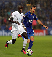 Pictured (L-R): Modou Barrow of Swansea City and  Saturday 27 August 2016<br />