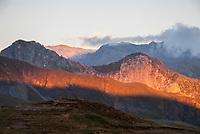 Sunset from the Refuge du Col de la Croix du Bonhomme, Tour du Mont Blanc, September 2007,