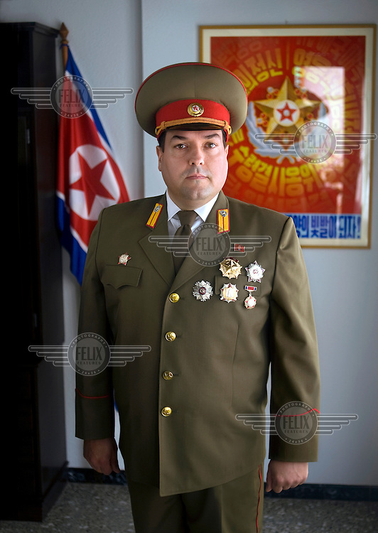A portrait of Alejandro Cao de Benos, photographed in the village of Salomo in northeast Spain wearing his uniform. As a Korean-Spanish communist, Alejandro is the president of the Korean Friendship Association (KFA) and has been an advocate of the Democratic People's Republic of Korea (North Korea) since 1990. His Korean name is Zo Sun-il (Korea is One) and he works as an honorary Special Delegate of the DPRK's Committee for Cultural Relations with Foreign Countries - a North Korean government spokesman in Europe.