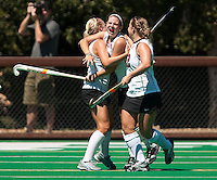 STANFORD, CA - SEPTEMBER 6: Hope Burke and Katherine Donner celebrate a goal against Michigan State on September 6, 2010 in Stanford, California.