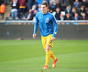 4th November 2017, Liberty Stadium, Swansea, Wales; EPL Premier League football, Swansea City versus Brighton and Hove Albion; Lewis Dunk of Brighton warms up before the game
