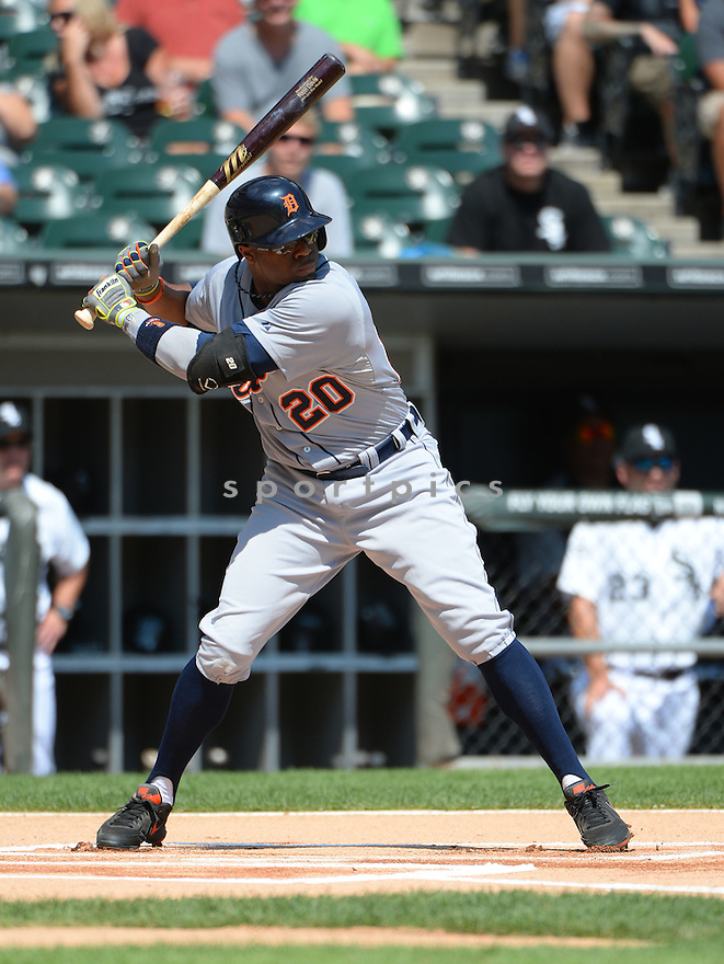 Detroit Tigers Rajai Davis (20) during a game against the Chicago White Sox on August 31, 2014 at US Cellular Field in Chicago, IL. The Tigers beat the White Sox 8-4.
