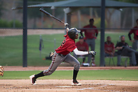 AZL Diamondbacks shortstop Geraldo Perdomo (12) follows through on his swing during an Arizona League game against the AZL White Sox at Camelback Ranch on July 12, 2018 in Glendale, Arizona. The AZL Diamondbacks defeated the AZL White Sox 5-1. (Zachary Lucy/Four Seam Images)