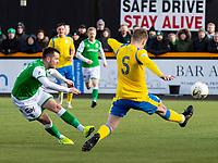 9th February 2020; Indodrill Stadium Alloa, Alloa Clackmannashire, Scotland; Scottish Cup Football, BSC Glasgow versus Hibernian; Marc McNulty of Hibernian shooting and scores Hibernian second goal for 0-2 in the 30th minute