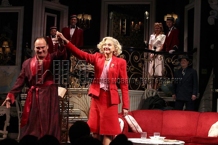 Jim Belushi & Nina Arianda.during the Broadway Opening Night Performance Curtain Call for 'Born Yesterday' in New York City.