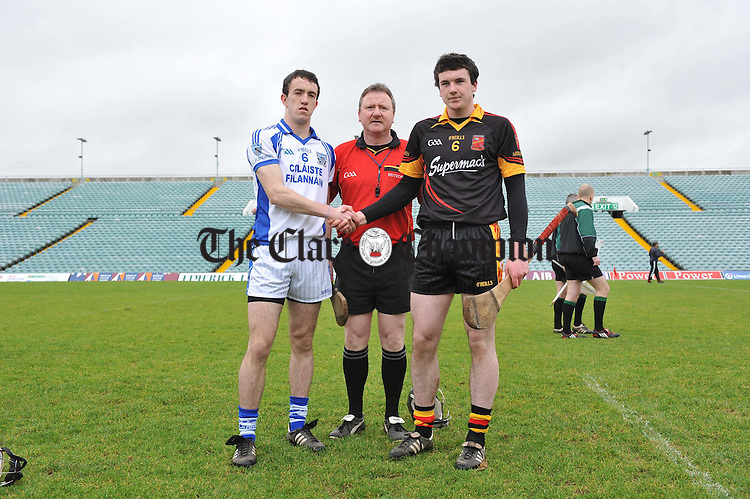 Referee Noel Cosgrove with St Flannan's captain Stephen O Halloran and Ardscoil Ris captain Declan Hannon before the Harty Cup semi-final at the Gaelic Grounds, Limerick. Photograph by John Kelly.