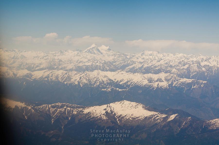 View of Himalaya Range from airplane.