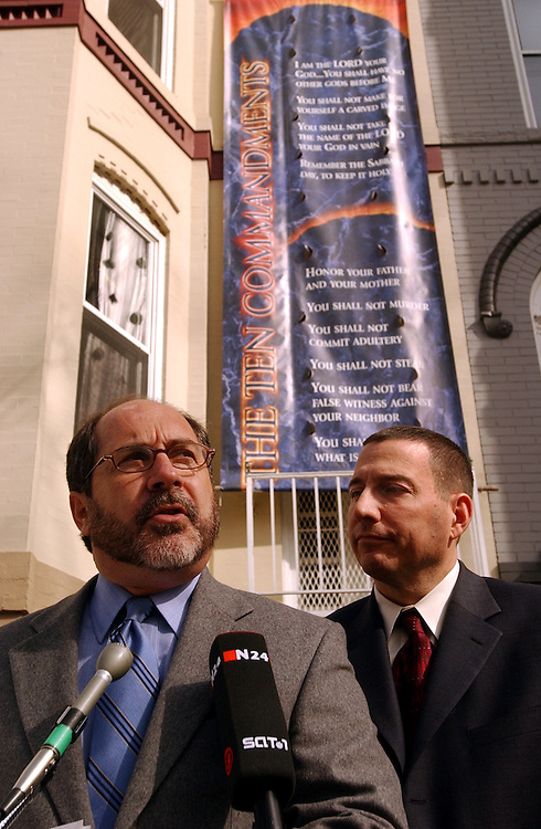 """Rev. Patrick Mahoney, left, and Rev. Rob Schenck, speak at a news conference announcing that The Christian Defense Coalition and the National Clergy Council will make tickets aviable for all members of Congress to see """"The Passion of the Christ."""""""