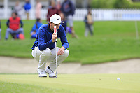 Ashley Chesters (ENG) on the 18th green during Saturday's storm delayed Round 2 of the Andalucia Valderrama Masters 2018 hosted by the Sergio Foundation, held at Real Golf de Valderrama, Sotogrande, San Roque, Spain. 20th October 2018.<br /> Picture: Eoin Clarke | Golffile<br /> <br /> <br /> All photos usage must carry mandatory copyright credit (&copy; Golffile | Eoin Clarke)