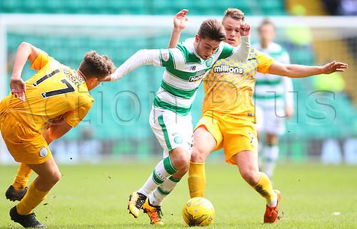 06.03.2016. Celtic Park, Glasgow, Scotland. Scottish Cup. Celtic versus Morton. Patrick Roberts battles through the Morton defence