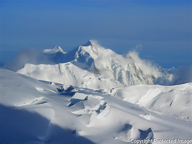 Mount Hunter from the 14,200-foot camp on Denali's West Buttress route, Alaska Range.