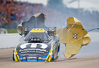 May 20, 2017; Topeka, KS, USA; NHRA funny car driver Matt Hagan runs a 3.802 elapsed time at 338.85 mph for the quickest and fastest run in history during qualifying for the Heartland Nationals at Heartland Park Topeka. Mandatory Credit: Mark J. Rebilas-USA TODAY Sports