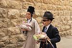 Israel, Jerusalem, Purim in Mea Shearim neighborhood, mishloach manot