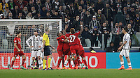 Calcio, andata degli ottavi di finale di Champions League: Juventus vs Bayern Monaco. Torino, Juventus Stadium, 23 febbraio 2016. <br /> Bayern's players celebrate after Thomas Mueller, not seen, scored during the Champions League first leg round of 16 football match between Juventus and Bayern at Turin's Juventus Stadium, 23 February 2016.<br /> UPDATE IMAGES PRESS/Isabella Bonotto