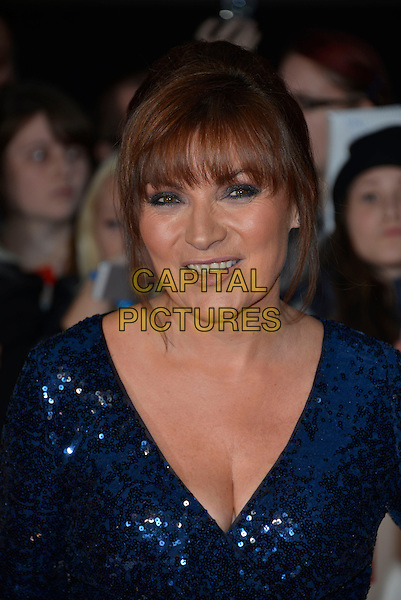 Lorraine Kelly<br /> The Daily Mirror's Pride of Britain Awards arrivals at the Grosvenor House Hotel, London, England.<br /> 7th October 2013<br /> headshot portrait blue sequins sequined cleavage <br /> CAP/PL<br /> &copy;Phil Loftus/Capital Pictures