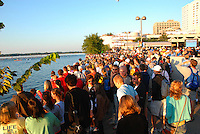 Spectators pack Lake Monona's Law Park at 7 am at the start of Madison's Ironman on Sunday morning, 9/9/07