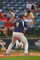 Pensacola Blue Wahoos catcher Cam Maron (9) at bat during a game against the Mississippi Braves on May 28, 2015 at Trustmark Park in Pearl, Mississippi.  Mississippi  defeated Pensacola 4-2.  (Mike Janes/Four Seam Images)