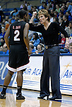 06 February 2008:  Aztec head coach, Beth Burns, gives instructions to guard, Coco Davis (2) during San Diego State's 62-45 Mountain West Conference victory over the Air Force Falcons at Clune Arena, Air Force Academy, Colorado Springs, Colorado.