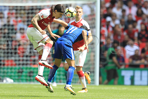 August 6th 2017, Wembley Stadium, London, England; FA Community Shield Final; Arsenal versus Chelsea; Héctor Bellerin of Arsenal wins a header against Pedro of Chelsea