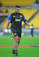 Chris Eves warms up for the Super Rugby match between the Hurricanes and Sharks at Westpac Stadium, Wellington, New Zealand on Saturday, 9 May 2015. Photo: Dave Lintott / lintottphoto.co.nz