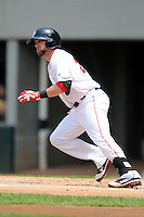 Pawtucket Red Sox outfielder Bryce Brentz #25 during a game versus the Indianapolis Indians at McCoy Stadium in Pawtucket, Rhode Island on May 19, 2013.  (Ken Babbitt/Four Seam Images)
