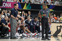 USA's coach Mike Krzyzewski jokes with the referee during 2014 FIBA Basketball World Cup Round of 16 match.September 6,2014.(ALTERPHOTOS/Acero)