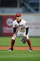 Altoona Curve first baseman Connor Joe (6) during a game against the New Hampshire Fisher Cats on May 11, 2017 at Peoples Natural Gas Field in Altoona, Pennsylvania.  Altoona defeated New Hampshire 4-3.  (Mike Janes/Four Seam Images)