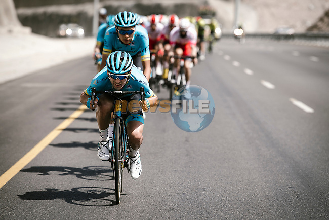 Artyom Zakharov (KAZ) Astana Pro Team leads the peloton during Stage 4 of 10th Tour of Oman 2019, running 131km from Yiti (Al Sifah) to Oman Convention and Exhibition Centre, Oman. 19th February 2019.<br /> Picture: ASO/P. Ballet | Cyclefile<br /> All photos usage must carry mandatory copyright credit (© Cyclefile | ASO/P. Ballet)