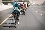 Artyom Zakharov (KAZ) Astana Pro Team leads the peloton during Stage 4 of 10th Tour of Oman 2019, running 131km from Yiti (Al Sifah) to Oman Convention and Exhibition Centre, Oman. 19th February 2019.<br /> Picture: ASO/P. Ballet | Cyclefile<br /> All photos usage must carry mandatory copyright credit (&copy; Cyclefile | ASO/P. Ballet)