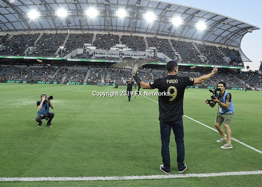 """LOS ANGELES - AUGUST 21:  JD Pardo at FX's """"Mayans M.C."""" Activation at Los Angeles Football Club at Banc of California Stadium on August 21, 2019 in Los Angeles, California. (Photo by Scott Kirkland/FX Networks/PictureGroup)"""
